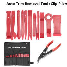 12pcs Car Door Molding Dash Panel Audio Trim Removal Pry Tool Kit & Clip Pliers