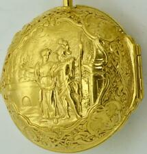 Verge Fusee Pinchbeck gold Repousse case watch&chatelaine. Bordier,Geneve c1730