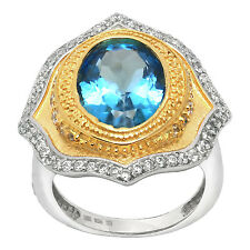 De Buman Two-tone 925 Silver 8.48ctw Swiss Blue Topaz Engagement Ring, Size 7