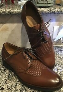 "JOHNSON & MURPHY Men's Sz 9.5 M ""Carlson Woven Wingtip""Dress 👞 BROWN NEW"