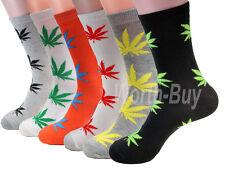 New Lot 12 Pairs Mens Leaf Marijuana Weed Pattern Fashion Dress Socks Size 10-13