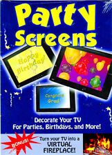 VIRTUAL PARTY SCREENS: NEW YEARS EVE, BIRTHDAY & MORE w/BONUS HOLIDAY FIREPLACE!