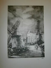 Gravure moulin a vent par P. Valade Moulin de Caignac haute Garonne