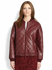 ELIZABETH AND JAMES Lena Coated Quilted Bomber Jacket in Bordeaux Size Medium M
