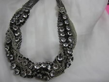 Multi-Chains W/ Rhinestone Chains Braided Necklace 20-24 Adjustable