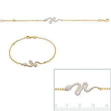 Nouveau BRACELET Femme Serpent DESIGN + Zirconium en Plaqué OR NEUF