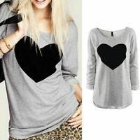 Women's T Shirt Love Heart Casual Ladies Loose Blouse Long Sleeve Tee shirt Tops