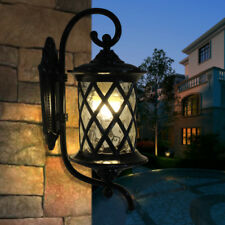 Country Style Black Metal Cylindrical Glass 1 Light Outdoor Garden Wall Sconce