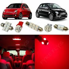 3x Red LED lights interior package conversion kit for 2012-2015 Fiat 500 #F51R