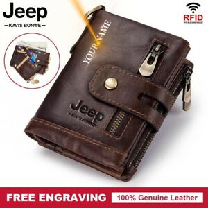 Genuine Leather Men Wallet Coin Purse Mini Card Holder Chain Male Wallet Pocket