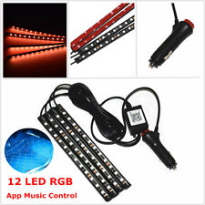 4PCS 12 LED Auto Car Atmosphere RGB Phone App Music Control Strip Light Interior