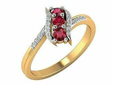 14k Yellow Gold Diamond Ruby Ring Jewelry