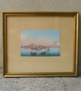 Rare 19th century Neapolitan Gouache. Vesuvius and Naples bay 1820.