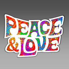 vinyl sticker peace and love hippie boho flower child word art hippy fun 134 mm
