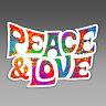 peace and love vinyl sticker hippie boho flower child word art hippy fun 134 mm