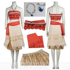 Moana Dress Princess Dress Cosplay Costume Party Dress Skirt Full Set+Nacklace