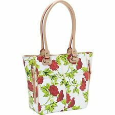 [8750]NEW Tignanello Women's Bed Of Roses Tote Red Roses bag White Shopper $175