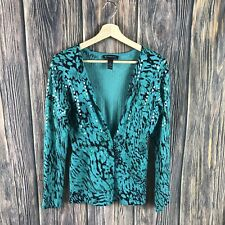inc international concepts Cardigan One-button Multicolor Sequins Animal Print