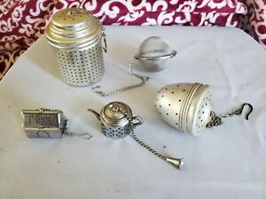 5 Vintage and Modern Tea Infusers. Aluminum and Stainless. Lot of 5