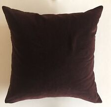 "POTTERY BARN ACCENT PILLOW~KNIFE EDGE~COTTON BLEND VELVET~20""x 20"" DARK BROWN"