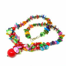 Multi-coloured shell red bead drop pendant necklace - balouli