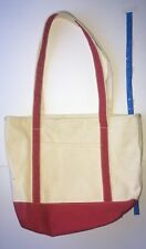 Staples Large Cotton Tote Bag Red White Weekender
