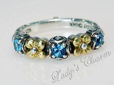 BARBARA BIXBY Sterling Silver 18K Gold Signature Flower Blue Topaz Ring 10