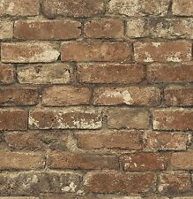 Oxford Rust Photo Realistic Faux Brick Wallpaper MAN20097