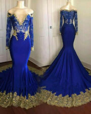 Royal Blue Gold Applique Mermaid Evening Cocktail Gown Charming Prom Party Dress
