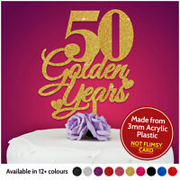 50th Golden PERSONALISED Anniversary Cake Topper Wedding Cake Topper Decoration