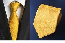 New Classic Paisley Ties Yellow JACQUARD WOVEN 100% Silk Men's Necktie wedding