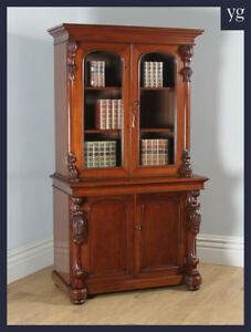 Antique Anglo Indian Victorian Colonial Mahogany 2 Door Glazed Bookcase Cupboard