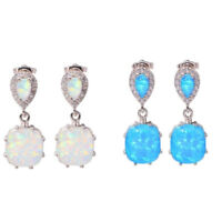 1 pair White Fire Opal Silver Ear Stud Earrings for Women Fashion Wedding Party