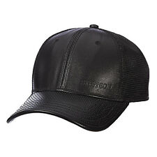 13161ac6300 STETSON    BLACK LEATHER BASEBALL HAT    MENS MESH TRUCKER BIKER CAP DRIVER  GOLF