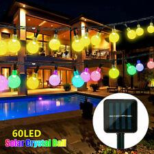 Xmas Solar 60 Led String Light Garden Path Yard Lamp Outdoor Waterproof Decor