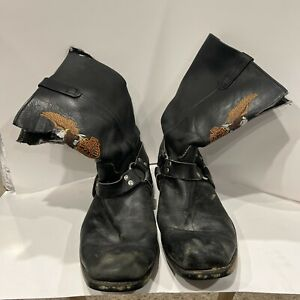 Harley Davidson Motorcycle Biker Boots Rugged Used cut Size 13 1/2 Maybe