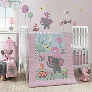 Baby Girl Crib Bedding Set Elephant Jungle 3 Piece Nursery Pink White Gift New