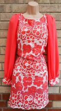 QUIZ PEACHY PINK CORAL WHITE FLORAL SEQUIN BEADED PARTY SHIFT XMAS DRESS 14 L