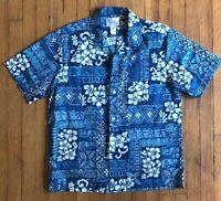 Howie Made In Hawaii Blue Floral Short Sleeve Hawaiian Size  Medium