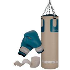 ScSPORTS® Boxsack Set gefüllt 25 kg Sandsack Boxhandschuhe Stahlkette Halterung