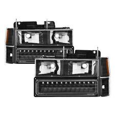 94-98 Chevy Pickup Truck Tahoe Suburban Black LED Headlight Bumper Corner Lights