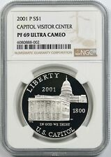 2001-P Capitol Visitor Center $1 NGC PF69UCAM Silver Modern Commemorative Dollar