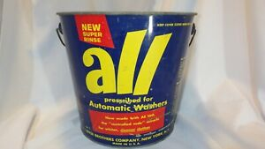Vintage ALL Laundry Detergent Lithographed Metal Pail Bucket - Empty & No Lid