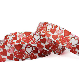 """7/8""""22mm Red Hearts Craft 5/10/50 Yards Hairbow Craft Handmade"""