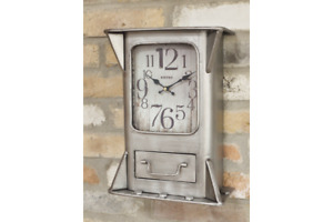 Metal Box Wall Clock with Drawer   Aged & Industrial Feel