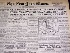 1942 JANUARY 24 NEW YORK TIMES RUSSIANS GAIN 65 MILES IN NORTH TO KHOLM - NT 904