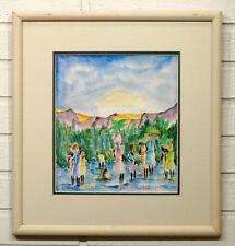 HAITIAN ART Vintage MID-CENTURY MODERN Framed HAITI  PAINTING / Needs Artist ID