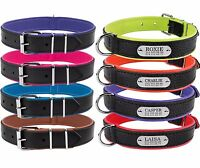 Personalized Dog Collar Leather Engraved Nameplate Optional Puppy Collars S M L