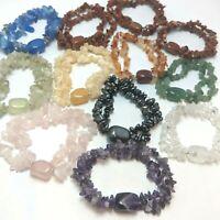 12pcs Double Chip & Gemstone Bracelets Wholesale Genuine Amethyst etc DB12
