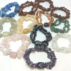 10pcs Double Chip & Gemstone Bracelets Wholesale Genuine Amethyst etc DB12